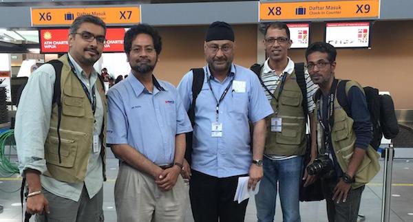 MERCY MALAYSIA MEDIA TEAM: (L-R) Hardesh, Dr Faizal (Mercy Malaysia President), Harmandar Singh, Brij Dogra, Vishnu Devarajan - PHOTO MERCY MALAYSIA