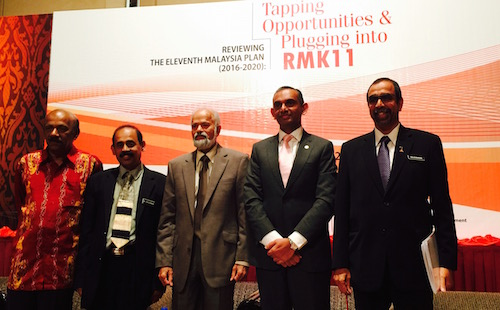 The Malaysian government has established four units as part of the Prime Minister's initiative to address Indian concerns. Its team leaders participated in a panel session in a symposium on the Indian community and the 11th Malaysia Plan on Sunday in Kuala Lumpur. They were (L-R) Special Implementation Task Force on the Indian Community (SITF) N Siva Subramaniam (citizenship and documentation matters), Dr Krishna Manium (SITF), panel chair Dr T Marimuthu, Secretariat for Empowerment of Indian Entrepreneurs (SEED) CEO Dr A T Kumararajah and Social-Economic Development of Indian Community (SEDIC) director Prof Datuk Dr NS Rajendran. - PHOTO ASIA SAMACHAR