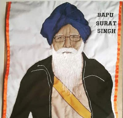 Bapu Surat Singh: An embroidery by a UK artist, at Facebook handle Kaurative Art.