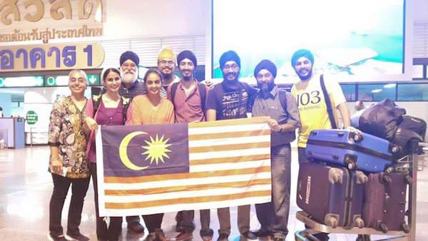 The team to Thailand: (L-R) Kashminder Kaur, Simerjit Kaur, Sukhdarshen Singh, Jiwan Kaur, Satsimran Singh, Harjit Singh, Saheb Singh, Balvinder Singh and Harvin Singh.