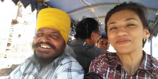 Sarjit Kaur selfie with a Sardar ji in Amritsar