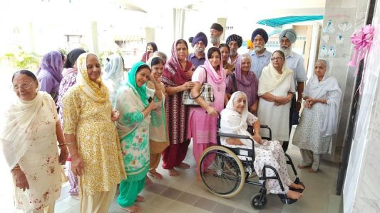 Wheelchair-bound Satwant Kaur, 81, is all beaming with the new lift at Gurdwara Sahib Seremban, officially opened today (13 March 2016)