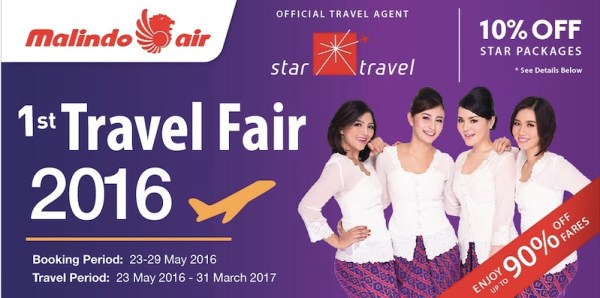Star Travel provides further discount for Malindo Air travel. For booking, call: 03-2630-7777, 017-504-7177, Email: tours@startravel.com.my