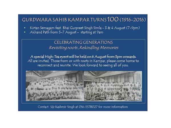 Gurdwara Sahib Kampar turns 100