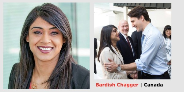 PM Justin Trudeau announced Bardish Chagger's appointment on his Facebook page using the photo on the right