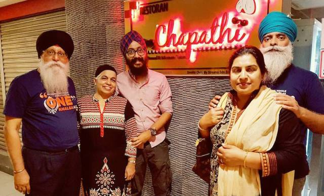 Khalsa Aid founder Ravi Singh and his wife (right) at a dinner hosted by CMSO Secretary General Autar Singh and some friends - PHOTO / SUPPLIED