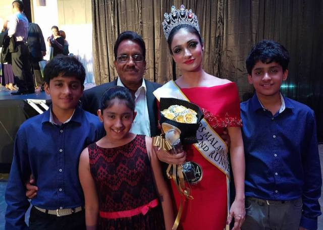 Harveen Kaur, husband Dr. Kattayat Mohandas and her children after the pageant - PHOTO / SUPPLIED