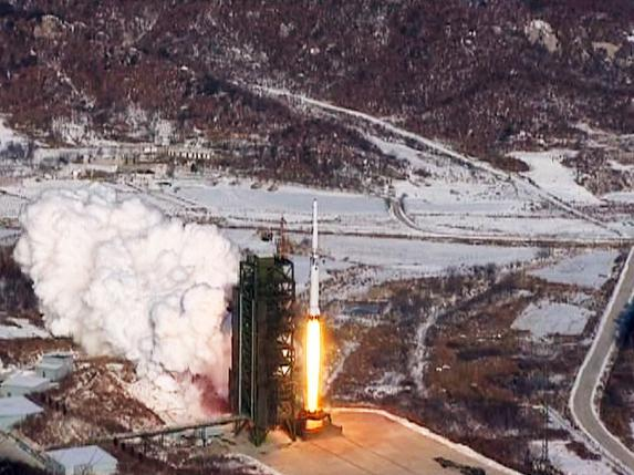 Screen capture of video showing the Unha-3 (Milky Way 3) rocket launching at North Korea's West Sea Satellite Launch Site. Photo: Reuters via KCNA