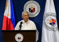 Philippine Foreign Secretary Perfecto Yasay gives a brief statement regarding the tribunal ruling on the South China Sea during a news conference at the Department of Foreign Affairs headquarters in Pasay city, metro Manila