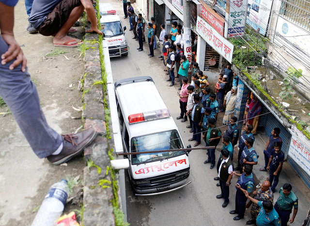 Ambulances leave after a police operation against militants in Dhaka in July 2016. There are concerns over extrajudicial killings after the 'war on drugs' launched by the Hasina government two weeks ago. File photo: Reuters/ Mohammad Ponir Hossain