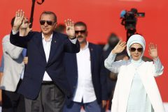 Turkish President Erdogan and his wife Emine Gulbaran attend Democracy and Martyrs Rally in Istanbul
