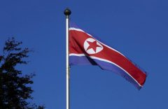 File photo of North Korean flag flying on a mast at the Permanent Mission of North Korea in Geneva