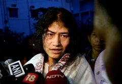 ndian human rights activist Irom Sharmila speaks to the media outside a prison hospital in Imphal