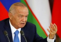 Uzbek President Karimov speaks during a joint news conference at the Kremlin in Moscow