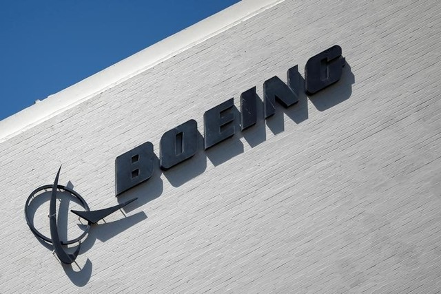 The logo of Boeing (BA) is seen in Los Angeles. Photoe: Reuters