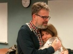 Kevin Garratt, a Canadian held in China for two years on suspicion of spying, hugs his wife Julia Garratt after being deported by Chinese authorities, in Vancouver, British Columbia, Canada, in this handout picture taken and released by the Garratt family September 15, 2016. Courtesy of the Garratt Family/Handout via Reuters