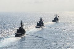 US guided-missile destroyers during bilateral training with Japan in the South China Sea on April 21, 2015. Courtesy David Flewellyn/US Navy Handout via Reuters