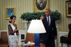 U.S. President Barack Obama meets with Myanmar's State Counsellor Aung San Suu Kyi at the Oval Office of the White House in Washington