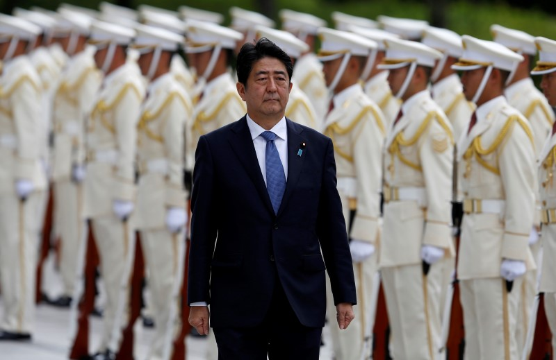 Japan's Prime Minister Shinzo Abe reviews the honour guard before a meeting with Japan Self-Defense Force's senior members at the Defense Ministry in Tokyo, Japan, September 12, 2016. REUTERS/Toru Hanai