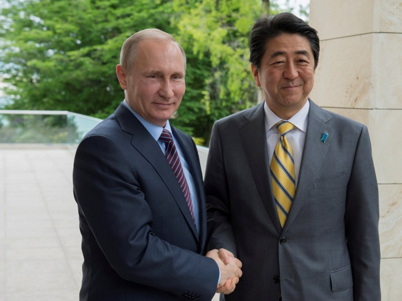 Russia's Vladimir Putin with Japan's PM Shinzo Abe in May 2016