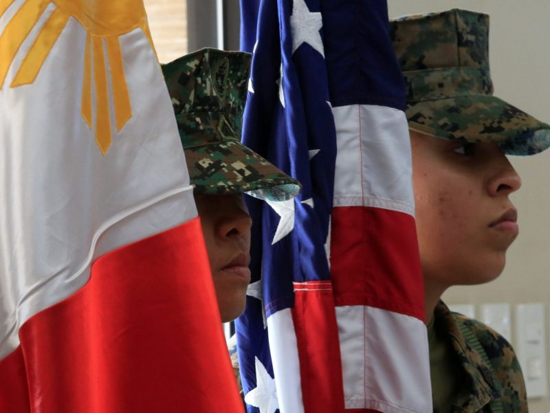 Members of the Philippine-US marine corps stands at attention during the Philippines-US amphibious landing exercise in Manila. Photo: REUTERS/Romeo Ranoco.