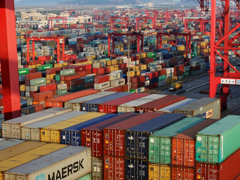 Container boxes at the Yangshan Deep Water Port in Shanghai. Photo: Reuters