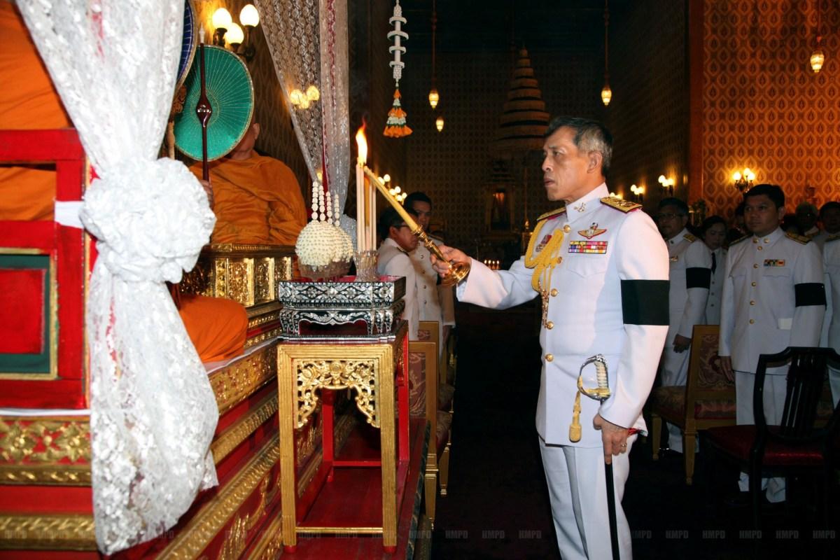 Thailand's Crown Prince Maha Vajiralongkorn takes part in a ceremony honoring the late King Bhumibol Adulyadej at the Grand Palace in Bangkok, Thailand, October 15, 2016. Thailand Royal Household Bureau/Handout via Reuters