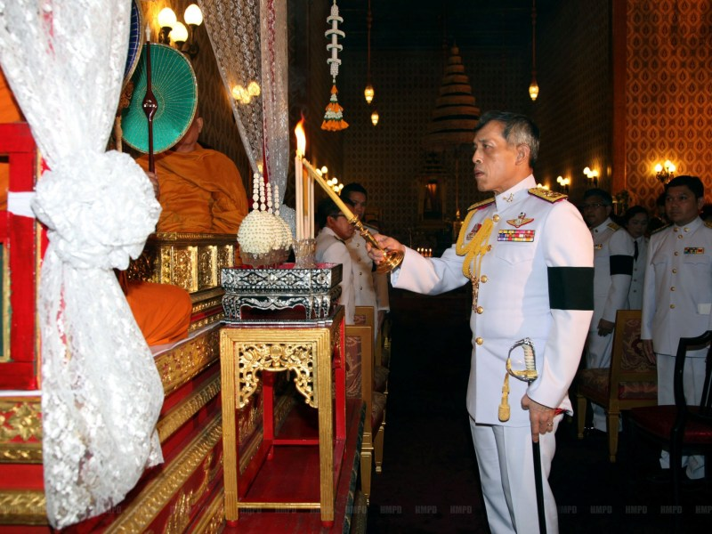Thailand's Crown Prince Maha Vajiralongkorn takes part in a ceremony honoring the late King Bhumibol Adulyadej at the Grand Palace in Bangkok, Thailand, October 15, 2016. Thailand Royal Household Bureau/Handout via Reuters