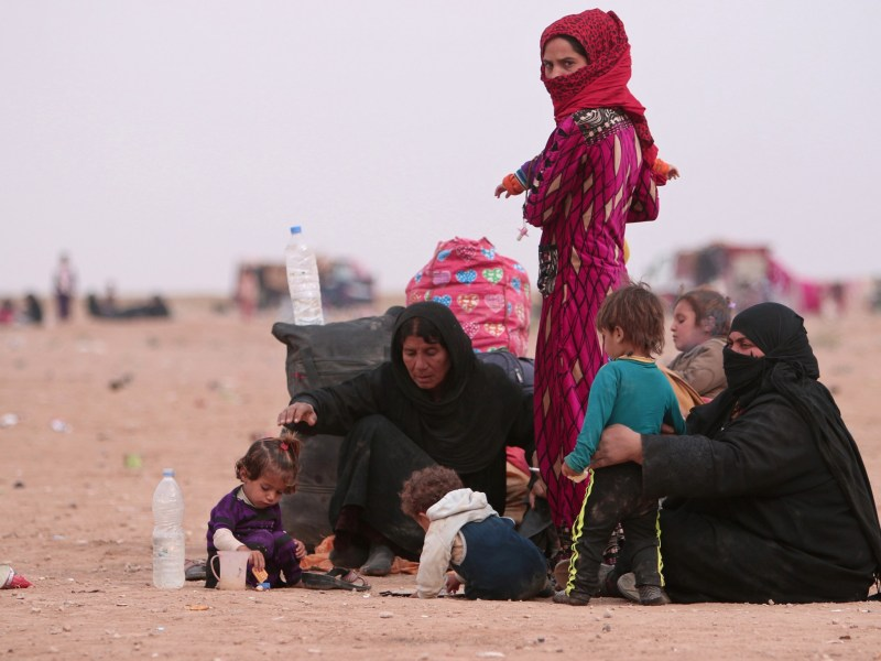 Iraqi refugees who fled the violence in Mosul rest near the Iraqi border, in Hasaka Governorate, Syria. Photo: Reuters/Rodi Said