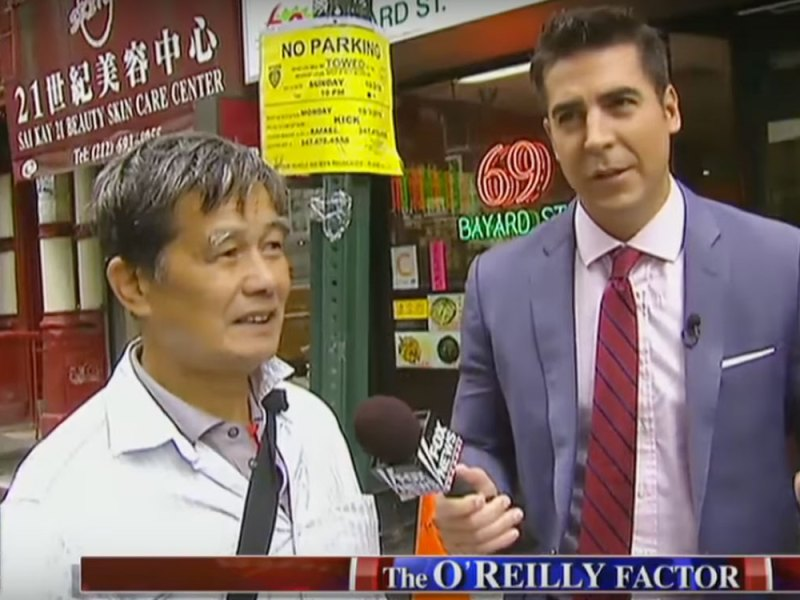 """Fox TV's Jesse Waters visited New York's Chinatown to poke some """"tongue-in-cheek"""" fun at local residents."""