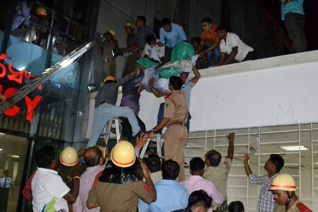 Rescue work under way at the Institute of Medical Sciences and Sum Hospital in Bhubaneswar, India. -- Photo courtesy: PTI