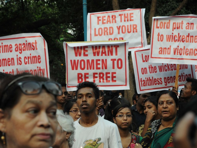 Indians gather at a vigil and protest against the gang-rape of a nun at a convent-school in Kolkata in March. Photo: AFP