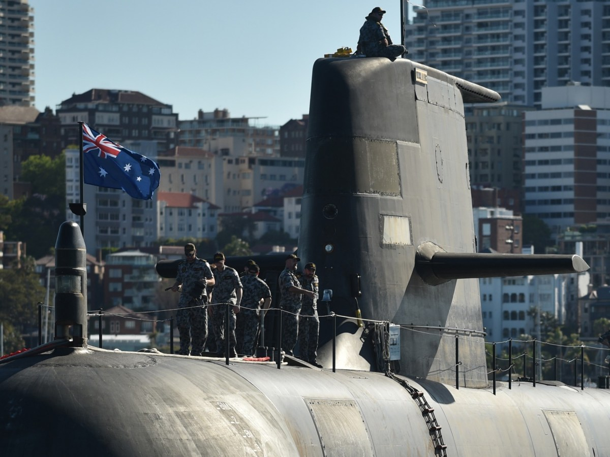 The Royal Australian Navy's HMAS Waller (SSG 75), a Collins-class diesel-electric submarine, is seen in Sydney Harbour. Photo: AFP