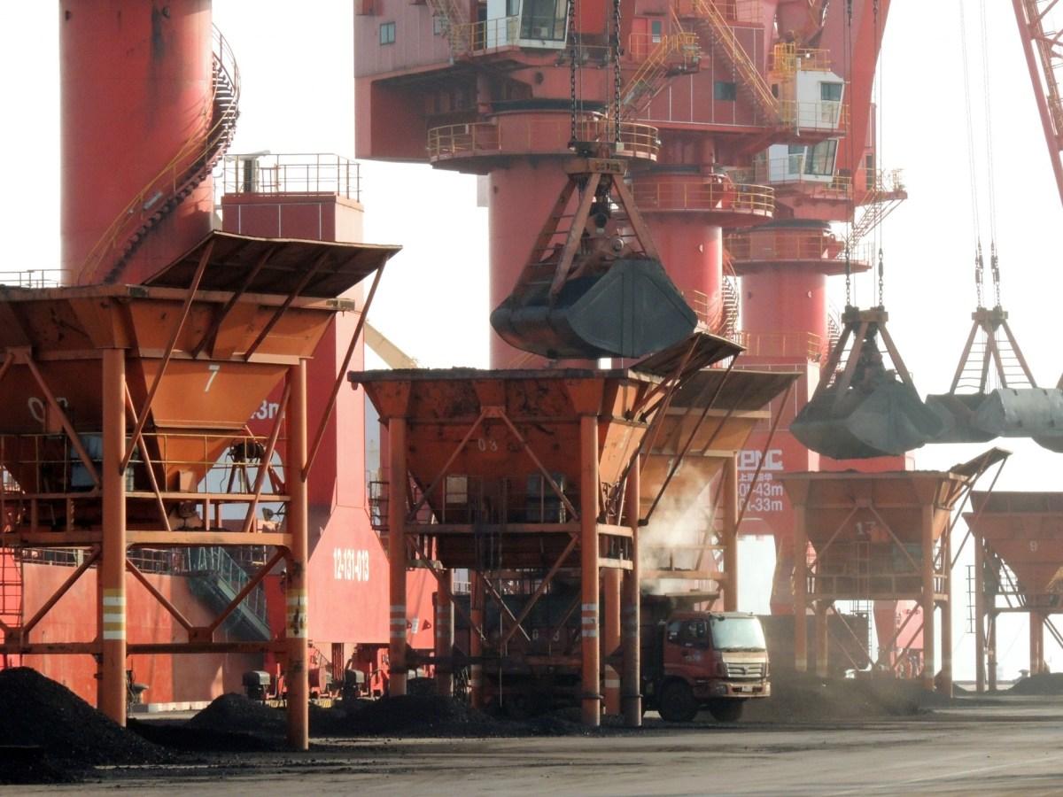 A truck loads coal at a port in Lianyungang, eastern China's Jiangsu province. Photo: AFP