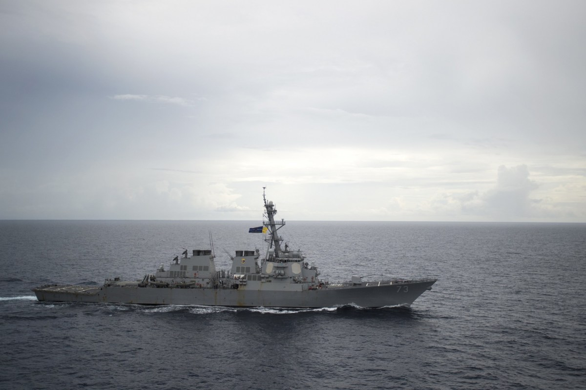 Guided-missile destroyer USS Decatur is seen in the South China Sea, where the US and allies have been conducting freedom of navigation exercises after China's controversial occupation of many disputed islets. Photo:  US Navy via Reuters.