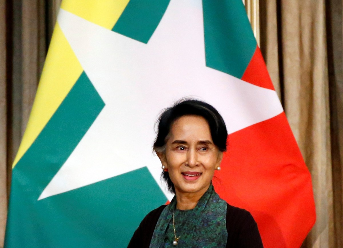 Myanmar State Counselor Aung San Suu Kyi attends a meeting event with Myanmar citizens residing in Japan in Tokyo, Japan November 2, 2016. Photo: Reuters/Issei Kato
