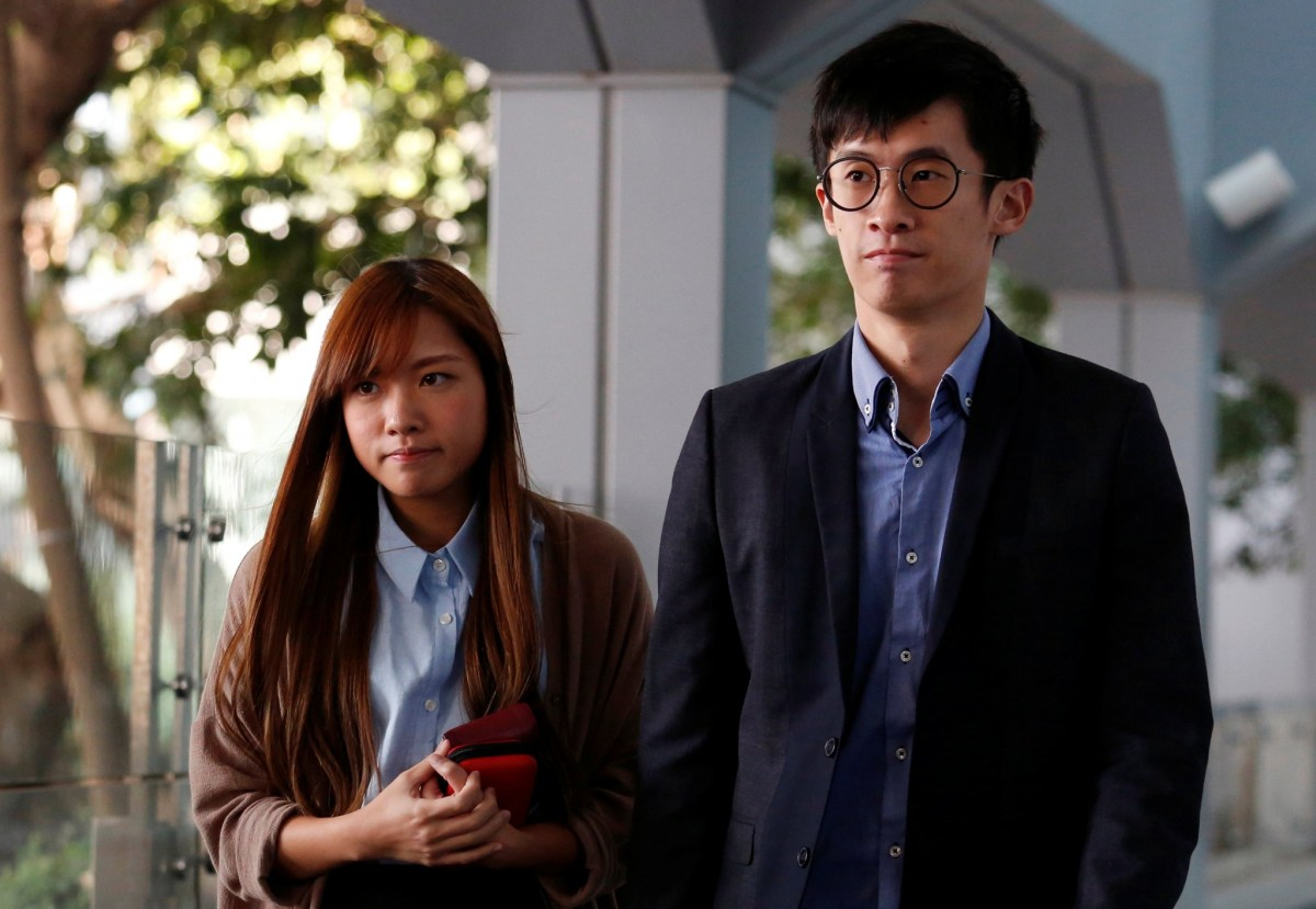 Pro-independence activists Baggio Leung (R) and Yau Wai-ching. Photo: Reuters/Bobby Yip