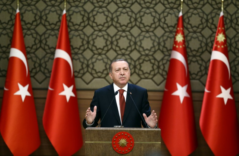 Turkish President Tayyip Erdogan makes a speech during his meeting with mukhtars at the Presidential Palace in Ankara, Turkey. Photo: Yasin Bulbul/Presidential Palace/ handout via Reuters