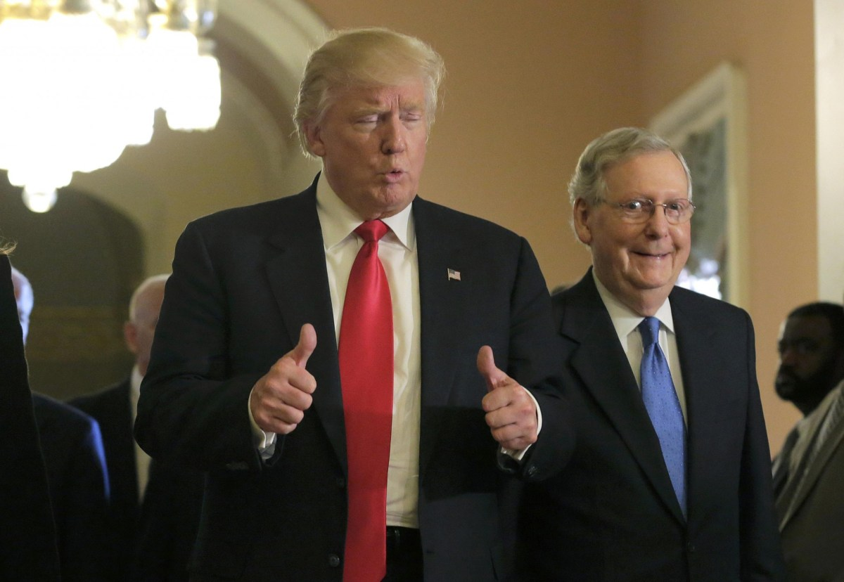 US President-elect Donald Trump gives a thumbs up sign as he walks with Senate Majority Leader Mitch McConnell on Capitol Hill: Reuters/Joshua Roberts