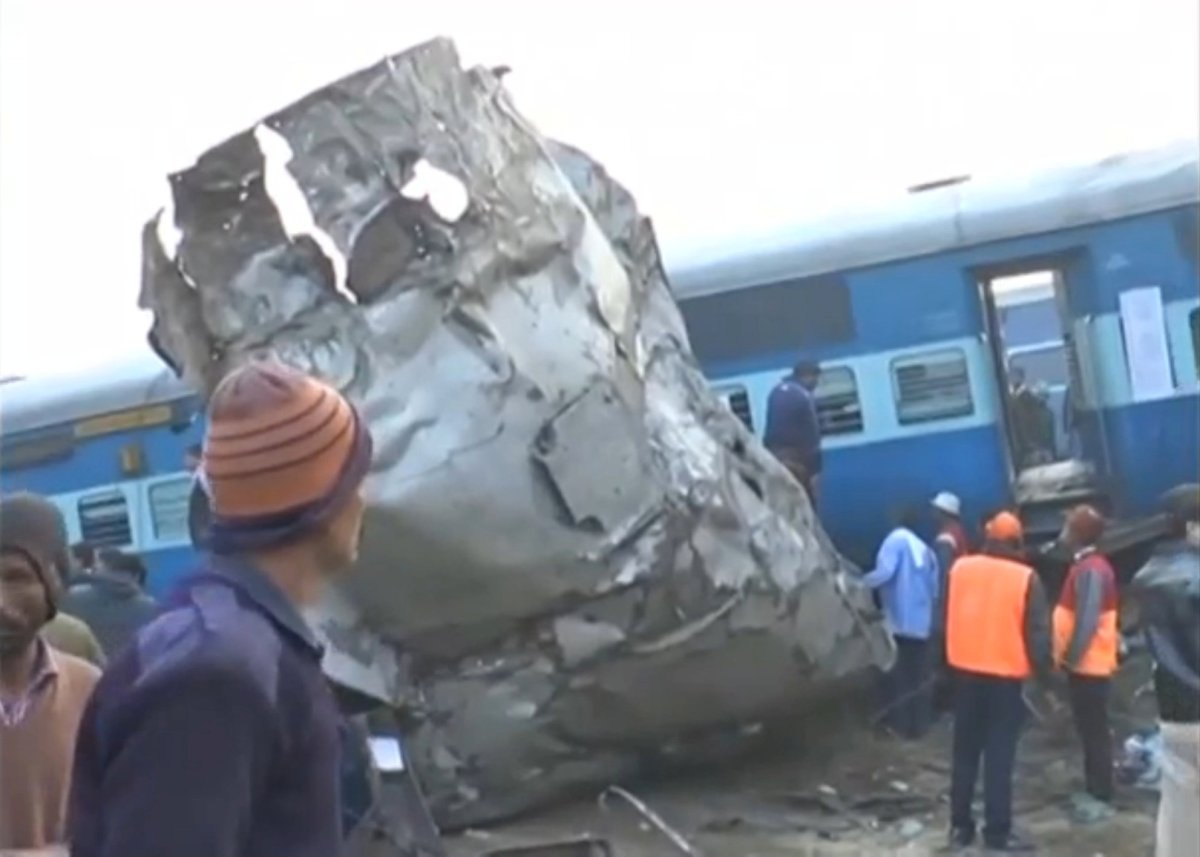 A view of a derailed train in Kanpur, in India's northern state of Uttar Pradesh, in this still image taken from video November 20, 2016. Photo: ANI/via ReutersTV