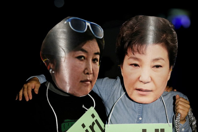 Protesters wearing cut-outs of South Korean President Park Geun-hye (R) and Choi Soon-sil. Photo: Reuters/Kim Hong-Ji