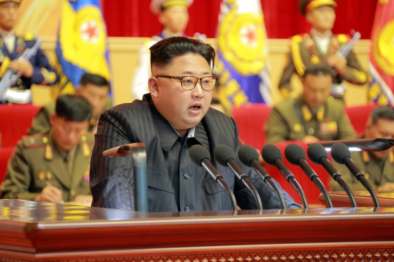 North Korean leader Kim Jong Un guides the 3rd Meeting of Activists of the Korean People's Army (KPA) in the Movement for Winning the Title of O Jung Hup-led 7th Regiment in this undated image. Photo: KCNA via Reuters