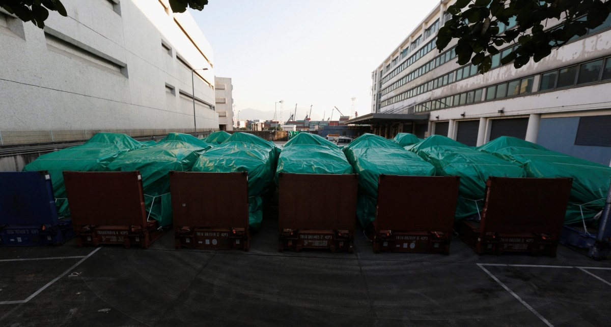 Armored troop carriers, belonging to Singapore, are detained at a cargo terminal in Hong Kong, China November 28, 2016. Photo: Bobby Yip, Reuters