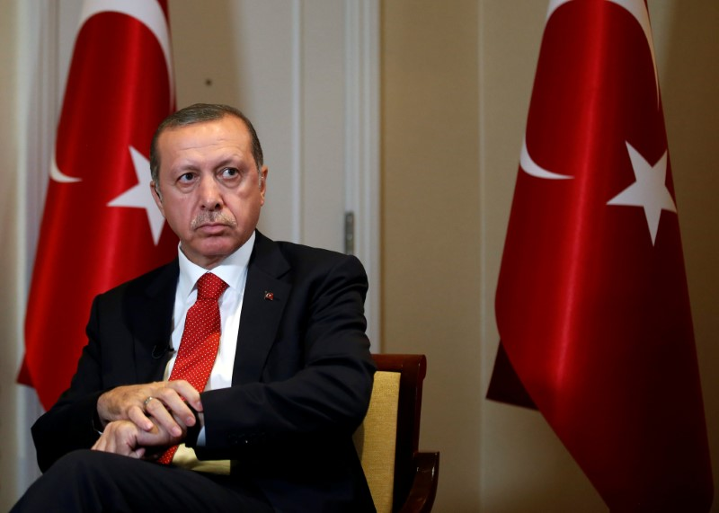 Turkish President Recep Tayyip Erdogan prepares for an interview in New York City. Photo: Reuters / Brendan McDermid