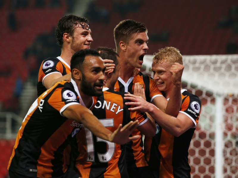 Hull City players celebrate scoring a rare goal. Photo: Reuters