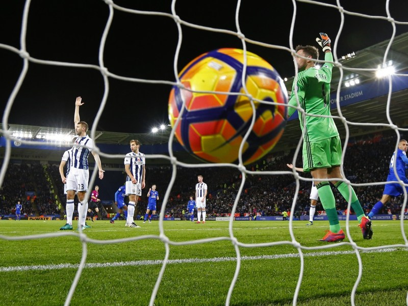 Leicester City's Islam Slimani scores their first goal against West Bromwich Albion at King Power Stadium on Nov. 16, 2016. Photo: Reuters/Darren Staples