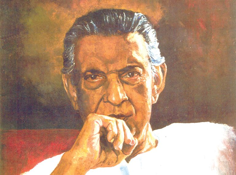 Painting of Satyajit Ray. Photo: Rishiraj Sahoo at the English language Wikipedia, CC BY-SA 3.0, https://commons.wikimedia.org/w/index.php?curid=39812900