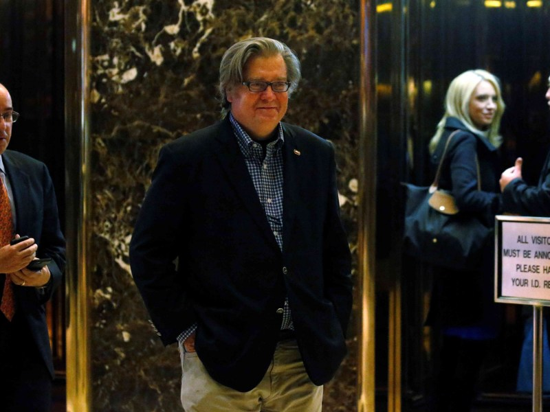 Campaign CEO Stephen Bannon departs the offices of president-elect Donald Trump at Trump Tower in New York. Photo: Reuters/Carlo Allegri