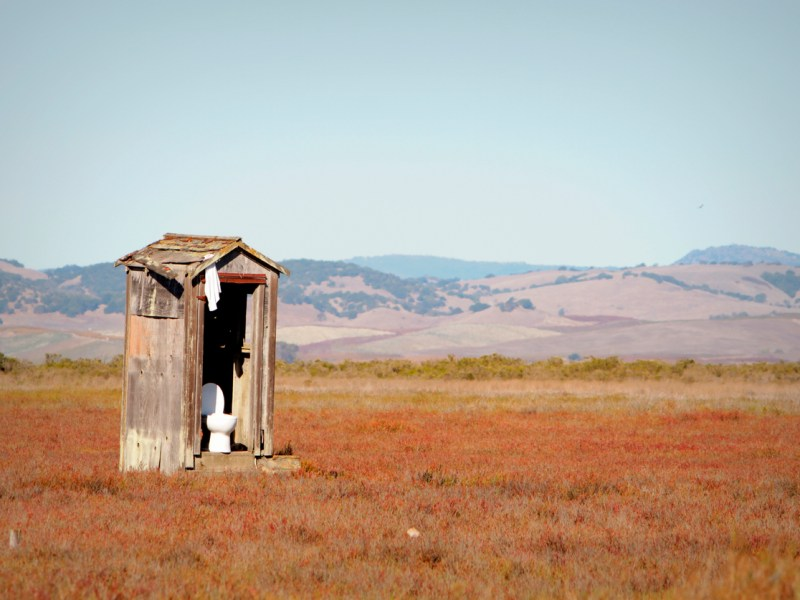 Isolated outhouse on Highway 37 in Sonoma County in Northern California. Photo: iStock/Getty Images