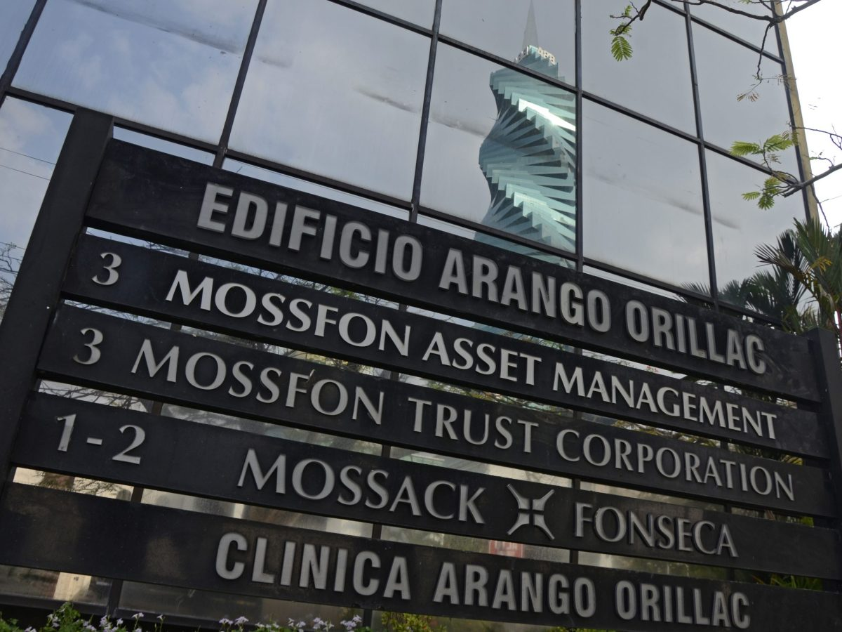 A sign outside the building where Panama-based Mossack Fonseca law firm offices are in Panama City. Photo: AFP